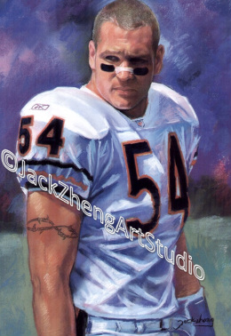 Portrait in Pastel -  NFL Chicago Bear Player - Brian Urlacher @Jack Zheng Art Studio