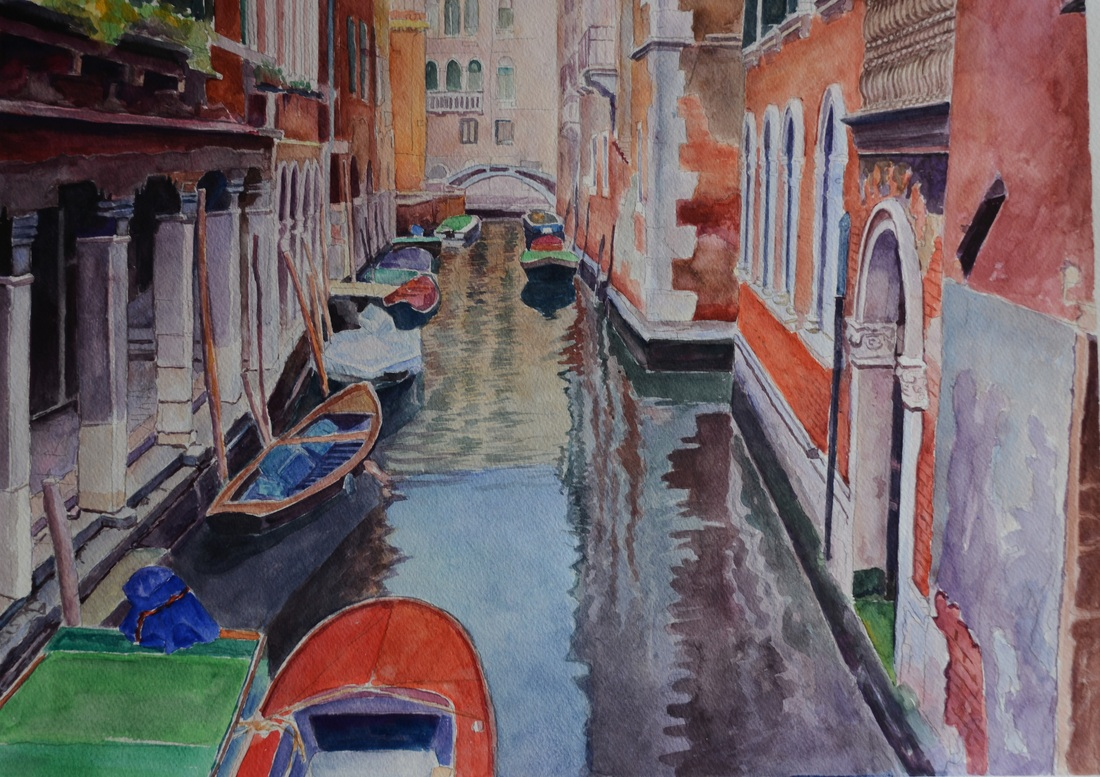 Watercolor Painting - Venice  Morning Impression @ Jack Zheng Art Studio