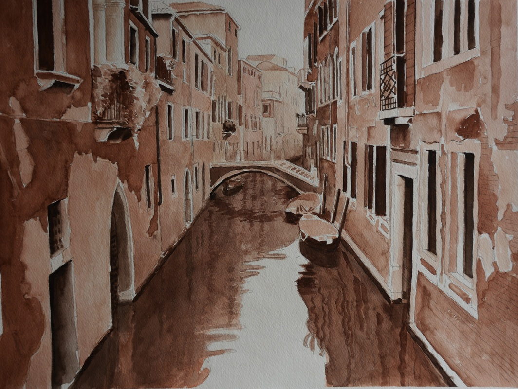 Watercolor Painting - Silent Venice @Jack Zheng Art Studio